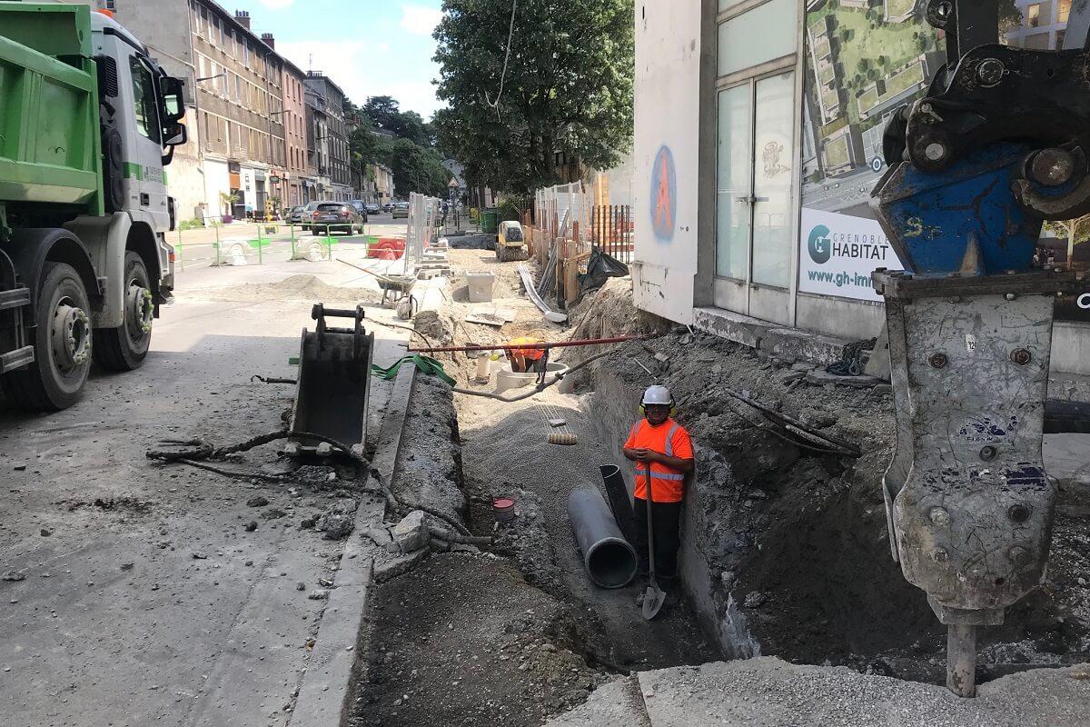Grenoble esplanade remplacement d'un collecteur